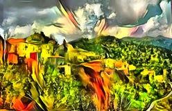 Landskaptolkning i stilen av surrealism Arkivfoto