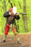 Landsknecht shooting from arkebusa Stock Photos