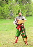 Landsknecht soldier reading execution. At Spring Landsknecht Camping at Bohdalov (Czech Republic, the 9th of May 2015 Stock Image