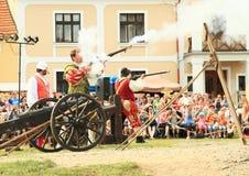 Landsknecht soldiers shooting from arkebuzas Stock Photo