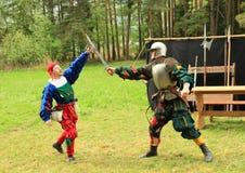 Landsknechts fencing Stock Images