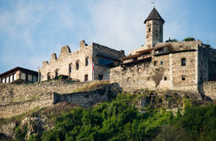 Landskron Castle. Details of the old medieval castle of Landskron in Villach/Austria located on top of a hill surrounded by a forest Royalty Free Stock Photos