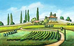 Landslandskap stock illustrationer