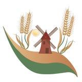 Landslandskap, en mala, något vete och solen - logo Fotografering för Bildbyråer