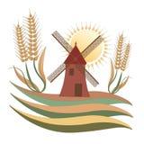 Landslandskap, en mala, något vete och solen - logo Royaltyfri Bild