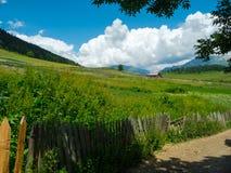 Landslandskap i Svaneti Arkivbild