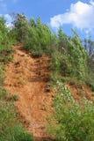 Landslide. Landslip on the bank of flooded open-cast mine Royalty Free Stock Photo