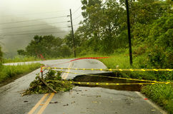 Landslide. In a road in Costa Rica Stock Photography