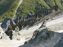 Landslide area, eroded rocks - way to Tilicho base camp, Nepal Stock Image