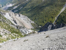 Landslide area, eroded rocks - way to Tilicho base camp, Nepal Stock Photography