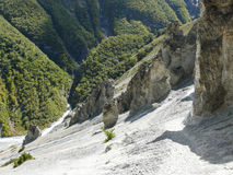 Landslide area, eroded rocks - way to Tilicho base camp, Nepal Royalty Free Stock Photo