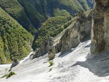 Landslide area, eroded rocks - way to Tilicho base camp, Nepal Royalty Free Stock Photo