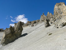 Landslide area, eroded rocks - way to Tilicho base camp, Nepal Royalty Free Stock Photos
