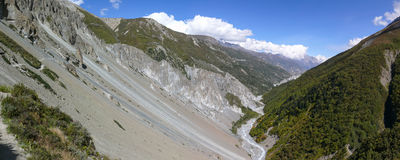 Landslide area panorama, eroded rocks - way to Tilicho base camp, Nepal Stock Photo