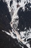 Landslide and avalanches. In skiing mountains in early spring in Montafon, Austria Royalty Free Stock Images