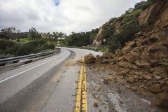 Landslide Blocking Santa Susana Pass Road in Los Angeles  Stock Images