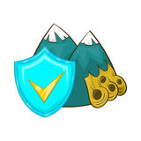 Landslide and blue shield with tick icon Stock Image