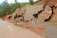 Landslide and broken road Stock Images