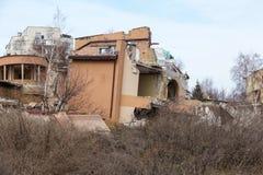 Landslide caused by rains of hurricane destroyed expensive cottages and houses. Destroyed house, cottage, large cracks, chips,. Slabs. Broken asphalt shifted stock images
