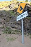 Landslide caution sign Stock Images