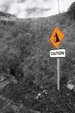 Landslide caution sign in ireland Stock Photography