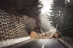 Landslide closed the road Royalty Free Stock Photography
