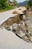 Landslide damage. Destroyed road landslide damaged in powerful flood Royalty Free Stock Photography