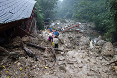 Landslide destroy. Buildings distroyed by  landslide,located in Sichuan,China Stock Image