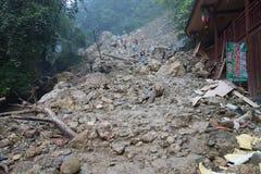 Landslide destroy stock images