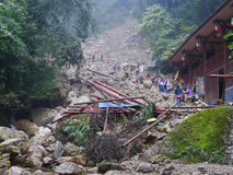 Landslide destroy. Buildings distroyed by  landslide,located in Sichuan,China Royalty Free Stock Photography