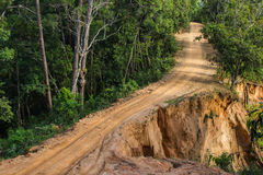 Landslide dirt road. In forest at Chiangmai Thailand Stock Image