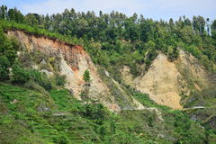 Landslide after earthquake disaster Royalty Free Stock Photos