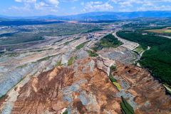 Landslide in lignite mine of Amyntaio. Florina, Greece royalty free stock photos