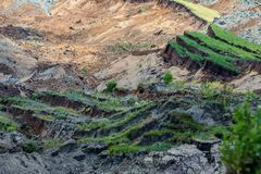 Landslide in lignite mine of Amyntaio. Florina, Greece royalty free stock photography