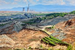 Landslide in lignite mine of Amyntaio. Florina, Greece royalty free stock photo