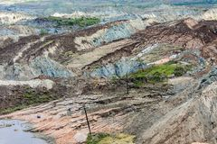 Landslide in lignite mine of Amyntaio. Florina, Greece stock images