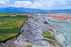 Landslide in lignite mine of Amyntaio. Florina, Greece royalty free stock images