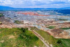 Landslide in lignite mine of Amyntaio. Florina, Greece royalty free stock image
