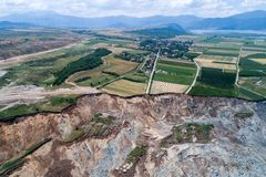 Landslide in lignite mine of Amyntaio. Florina, Greece stock photography