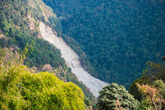 Landslide on the mountain in Nepal Royalty Free Stock Image