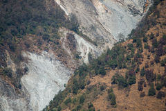 Landslide on the mountain in Nepal Royalty Free Stock Photos