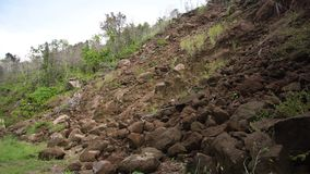 Landslide on the mountain road..Camiguin island Philippines. Stock Photography