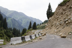 Landslide on the mountain road Royalty Free Stock Photos