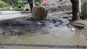 Landslide, mudslide in Rauris, Salzburg after raining. Austria stock footage