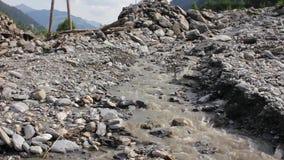 Landslide, mudslide in Rauris, Salzburg after raining. Austria stock video