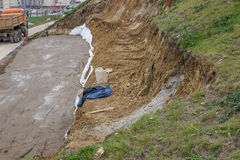 Landslide repair, erosion control Stock Photos