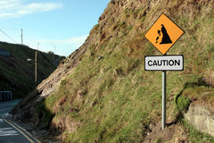 Landslide risk road sign. A landslide sign in county kerry ireland Royalty Free Stock Photography