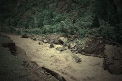 Landslide into river Bhagirathi in Himalayan Mountains, Uttarakhand, India. Landslides are very common in Himalayan mountains in Uttarakhand, India. This is a royalty free stock photos