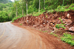 Landslide on the road. Landslide after heavy rain, Thailand Royalty Free Stock Photography