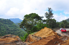 Landslide Road Block, Guatemala. Mudslides causing road blocks and damages and even death in Central America Royalty Free Stock Photography